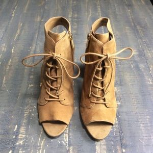Jessica Simpson stacked heel lace up open toe shoe